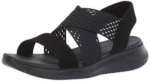 Skechers Women's Ultra Flex-NEON Star-Cross Strap Sling Back Sporty Sandal Sport Black, 11 M US ()