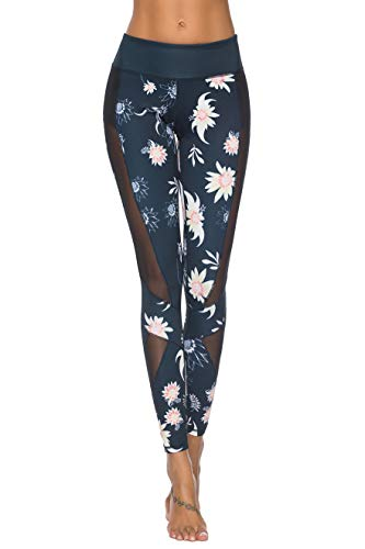 Mint Lilac Women's High Waist Printed Workout Yoga Leggings Athletic Tummy Control Casual Pants with Mesh Panels Navy Blue X-Large (Best Looking Workout Clothes)