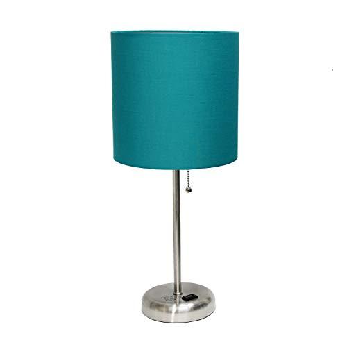 (Limelights AET4202-TEA Charging Base Fabric Shade Table Lamp Dark)