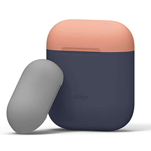 elago AirPods Duo Case [Body-Jean Indigo/Top-Peach, Medium Grey] - [Compatible with Apple AirPods 1 & 2; Front LED Not Visible][Supports Wireless Charging] for Apple AirPods 1 & 2