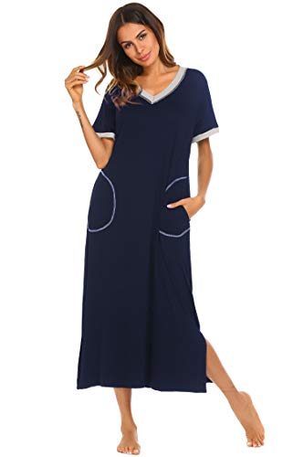 Ekouaer Women's Nightgown Comfy Sleepwear Lounge Dress (Navy1, Small)