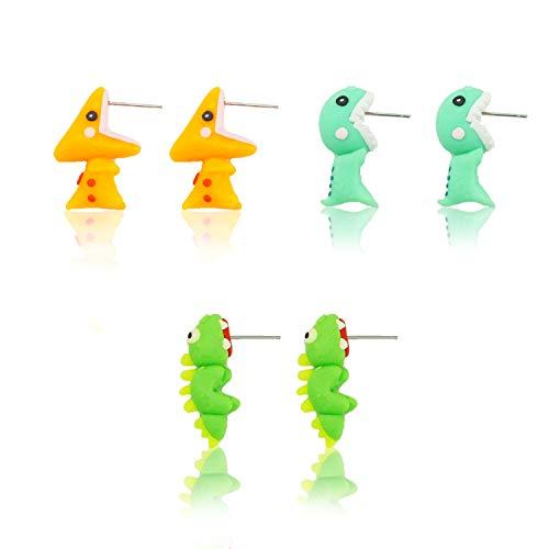 3 Pack Cute Animal Dinosaurs Handmade Polymer Clay Earrings