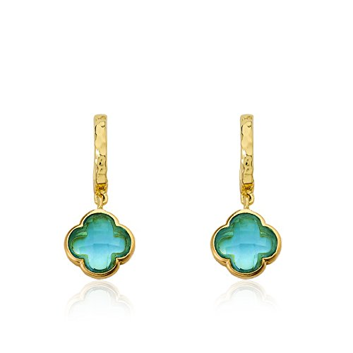 Little Miss Twin Stars Little Miss Flower Girl Hammered 14k Gold-Plated Small Huggy Earring With Aqua Faceted Clover Dangle