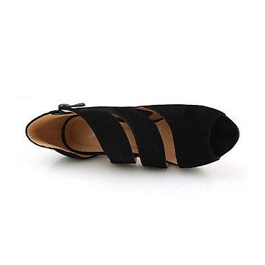 LvYuan Mujer-Tacón Stiletto-Sandalias-Sandalias-Casual-Vellón-Negro Black