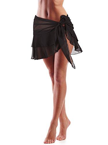 Hestya Women Swimsuit Wrap Beach Wrap Chiffon Pareo Bikini Skirt Ruffle Sarong Wrap (Black-Double Layer, 66.9 x 16.1 Inch)