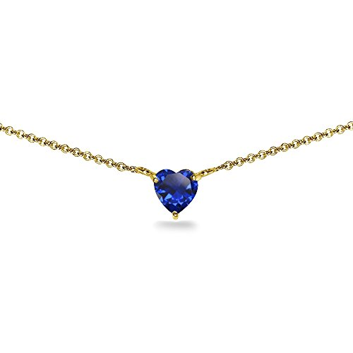 - Yellow Gold Flashed Sterling Silver Created Blue Sapphire 7x7mm Heart Dainty Choker Necklace