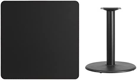 Flash Furniture 36 Square Black Laminate Table Top with 24 Round Table Height Base