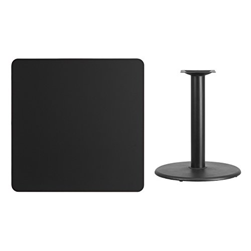 (36'' Square Black Laminate Table Top with 24'' Round Table Height Base)