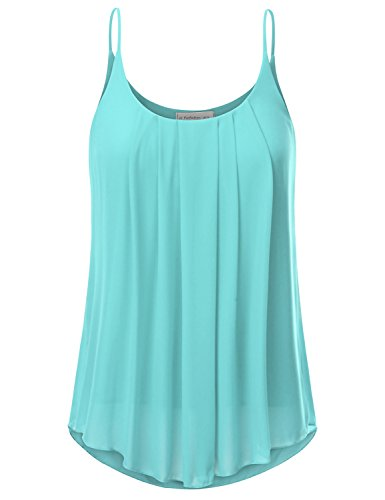 JJ Perfection Women's Pleated Chiffon Layered Cami Tank Top Turquoise S