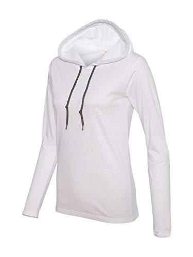 Anvil Ladies Lightweight Long-Sleeve Hooded T-Shirt, 2XL, WHITE/DARK GREY