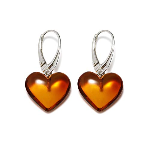 Earrings Drop Heart Jewelry (Heart Amber Dangle Earrings for Women - 925 Sterling Silver - Genuine Cognac Baltic Amber - Hypoallergenic)