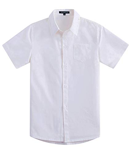 Spring&Gege Boys' Short Sleeve Solid Formal Cotton Twill Dress Shirts White 7-8 Years