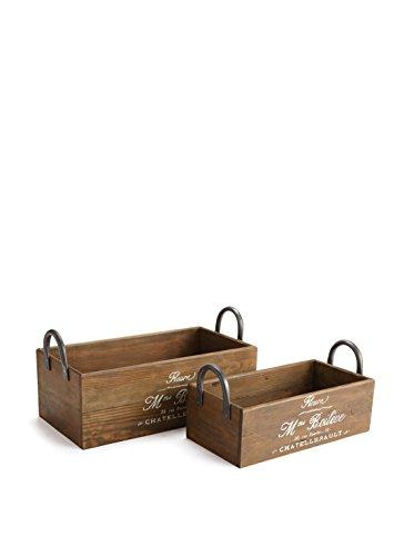 Planter Box with Handles, Set of 2 - Brown Napa Napa Wood