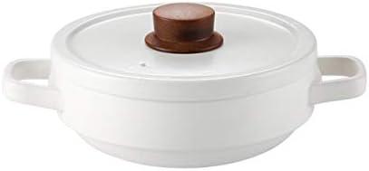 XXDTG Household Gas Casserole High Temperature Resistant Pot, Ceramic Casserole Shallow Pot Gas Cooking Pot, White