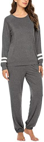 Ekouaer Women's Long Sleeve Pajamas Set with Pockets O Neck Sleepwear Lounge Nightwear (S-XXL)