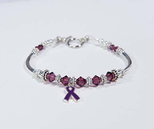 (Purple Awareness Swarovski Ribbon Charm Bracelet: Pancreatic & Thyroid Cancer, ITP, Alzheimer, Cystic Fibrosis, Lupus, ADHD, Fibromyalgia. #01)
