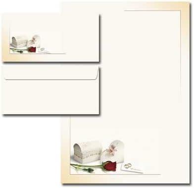 Motivpapier Komplett-Set WIR HEIRATEN 20 Blatt Briefpapier 40-tlg 20 passende Briefumschl/äge DIN LANG ohne Fenster