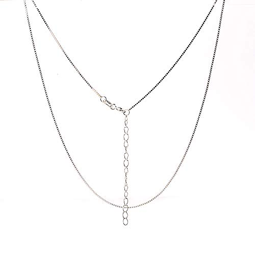 NAGHC 925 Sterling Silver Chain 0.8MM Delicate Box Chain - Italian Necklace Chain - Super Thin & Strong Lovely Chain (Adjustable Length 16-18 in)