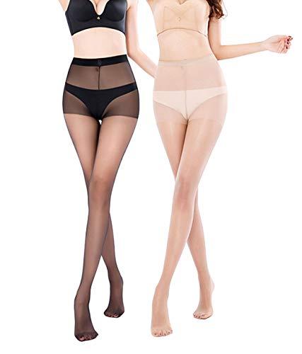 Yulaixuan Womens Run Resistant 3 Pairs Control top Pantyhose 15 Denier Full Length Reinforced Tights Sheer Stockings (1 Black& 1 Skin) ()