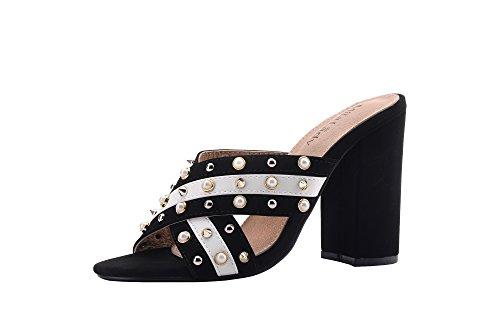 Ashley A Collection (Hazel Women's Glamorous Platform Stud and Pearl Embellishment Block Chunky Heels,BLACK/WHITE10 (Black Ashley In Dress)