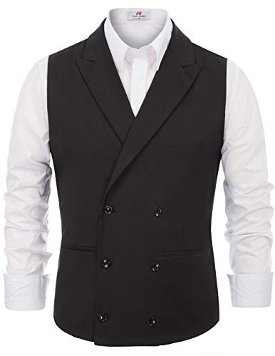 (PAUL JONES Men's Casual Double-Breasted Herringbone Collar Suit Waistcoat Size 2XL)