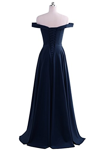 Prom Evening blue Shoulder Backless Satin The Dress Women's Yinyyinhs Off Pleated Navy SPaw0TWqY