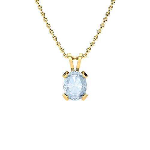 Oval Shape Aquamarine Necklace - 1cttw | Available in Yellow Gold, Rose Gold and Sterling Silver