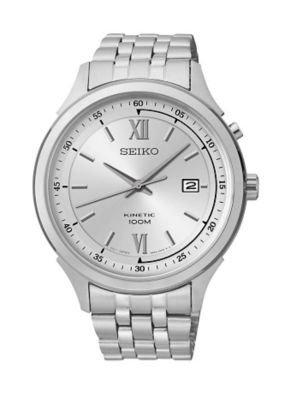 Seiko Kinetic con esfera blanca de acero inoxidable reloj de los hombres SKA653