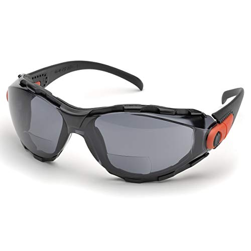 Elvex Go-Specs Safety Glasses-Black Foam Lined Frame-Grey Bifocal Anti-Fog Lens (Pair) - RX-GG-40G-AF-2.0
