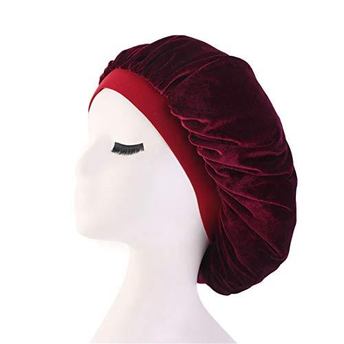Qianmome Women Chemo Beauty Salon Night Sleep Cap Head Cover Velvet Bonnet Hat durag Sleeping Caps
