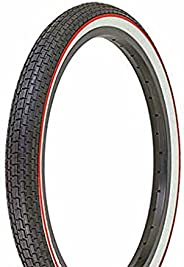 """Bike Tire, Bicycle Tire Duro 20 x 1.75 Black/White Side Wall Red Line HF-120A. 20"""" Brick Tire 20 inch by"""