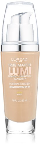 Warm Beige Foundation - L'Oréal Paris True Match Lumi Healthy Luminous Makeup, W5 Sand Beige, 1 fl. oz.