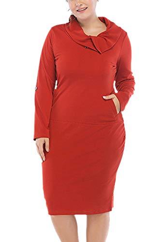 De De Larga La Rojo Vestido De Oficina Manga Mujeres Plus Longitud Tamaño Yacun Lápiz Rodilla PnWFSBSx
