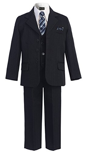 OLIVIA KOO Boys Pinstripe 6-Piece Suit with Matching Neck Tie and Pocket Square,Navy,2T
