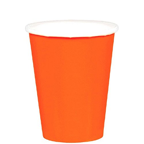 Disposable Party Cups, 20 Pieces, Made from Paper, Orange Peel, 9 oz by Amscan