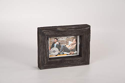 - 4x6 Black Rustic Picture Frame - PREMIUM QUALITY - Reclaimed Wooden Photo Frame - Wall Mounting or Tabletop Display - Solid & Thick Natural Pine Tree (1.6