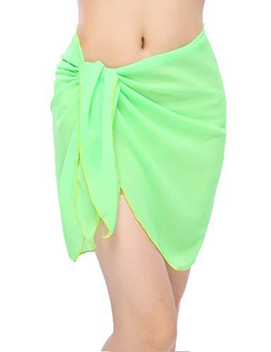 - Women Beach Chiffon Sheer Short Sarong Wrap Bikini Cover Up Printed/Solid Color Mini Slit Skirt Swimwear Bathing Suit Light Green