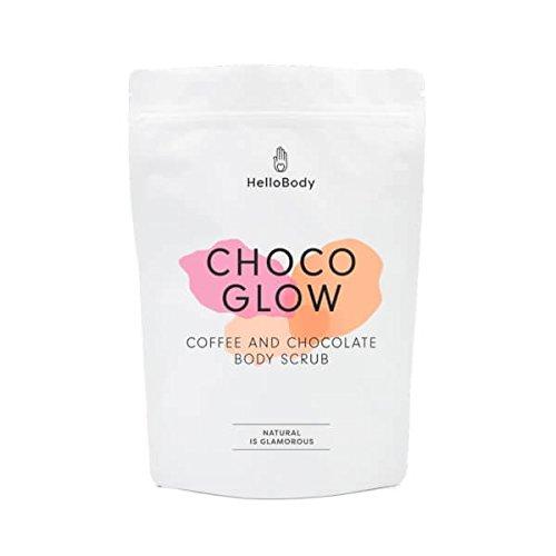 HelloBody Choco Glow Scrub per il corpo (200 g) – Peeling naturale – Prodotto vegano per la cura del corpo – Con caffè, cacao, olio di avocado e di mandorla