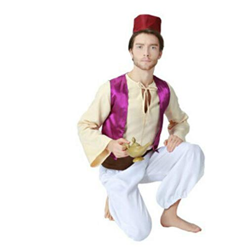 Men's Arabian Prince Costume Exotic Uniform Halloween Cosplay Outfit,As Shown,Medium -