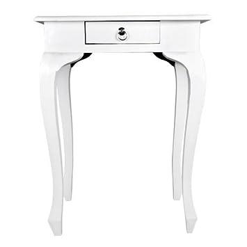 Beistelltisch PRESTON Weiss Aus Mahagoni Nachttisch Wohnzimmertisch Holztisch