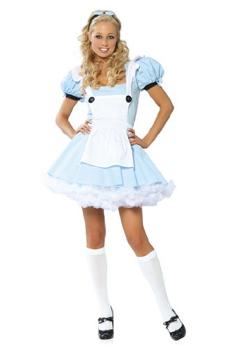 White Queen Costume From Alice In Wonderland (Alice in Wonderland Adult Costume - Small/Medium)