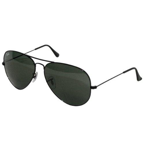 Ray-Ban RB3025 Aviator Sunglasses (58 mm, 58 mm Black Frame Solid Black G15 - Ban Aviators Black Black Ray Frame Lens