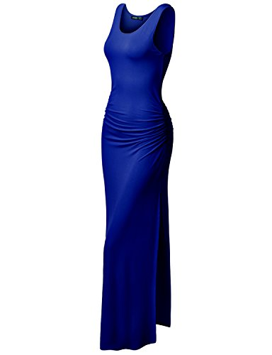 TWINTH Plus Size Maxi Dress Midi Dress Side Shirring Waist Sleeveless Royalblue 2XL