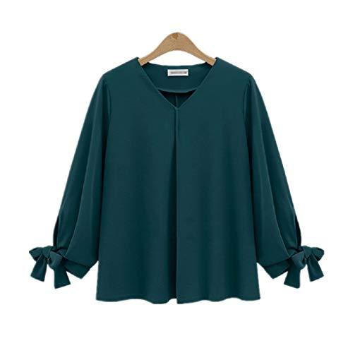 Soie color en de Printemps Manches Chemisier Nouveau Taille Style Plus XL dcontract Pure Mousseline Vert Tops Taille FuweiEncore Vert Longues Couleur x1qFYawa