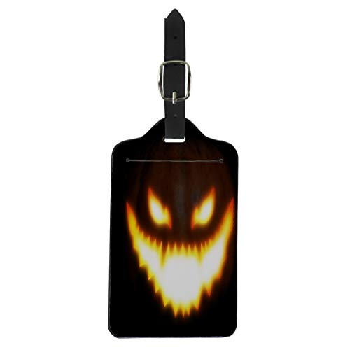 Pinbeam Luggage Tag Orange Big Pumpkin Scary Face for Halloween Manipulation Suitcase Baggage Label ()