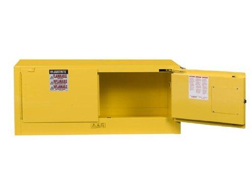 Justrite 891320 Sure-Grip EX Galvanized Steel 2 Door Self Close Piggyback Flammables Safety Storage Cabinet, 12 Gallon Capacity, 43