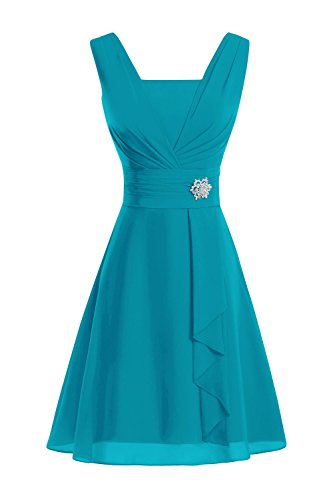 Bess Bridal Women's V Neck Knee-Length Chiffon Mother of The Bride Dresses Jade