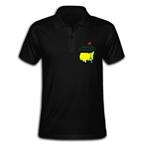 Men's 2016 Masters Tournament Solid Short Sleeve Pique Polo Shirt Black US Size M