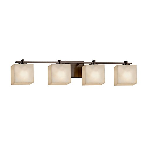 Justice Design Group Lighting CLD-8444-55-NCKL-LED4-2800 Era LED 4-Light Bath Bar-Brushed Nickel Finish with Clouds Rectangle Shade (Light Cloud Four Nickel Bath)