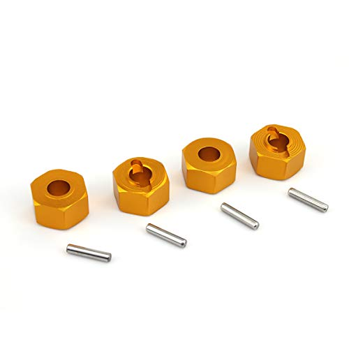 (Hosim 12mm Hex Wheel Hub Mount 7mm Thick, 4PCS Aluminum with 2x10mm Stub Axle Pins for Traxxas 1/10 Slash 4x4 & HQ 727 RC Cars Replacement Upgrade Parts (Gold))